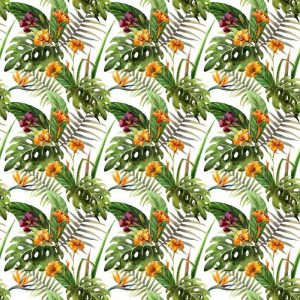 Fotomurales mexico papeles pintados lavables hibisco patron de la orquidea deja tropicos acuarela 1 300x300 - Papel Tapiz