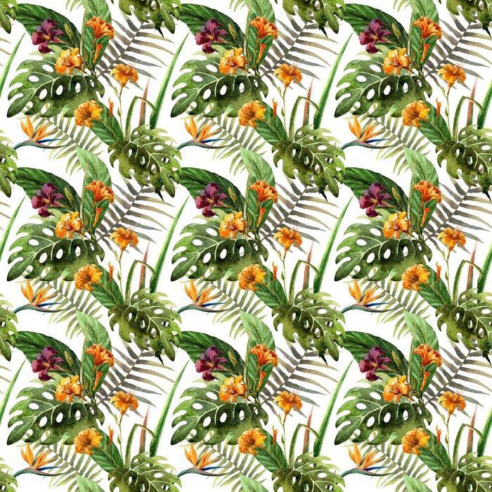 Fotomurales mexico papeles pintados lavables hibisco patron de la orquidea deja tropicos acuarela 1 - Papel Tapiz Orquídea Estilo Acuarela 01