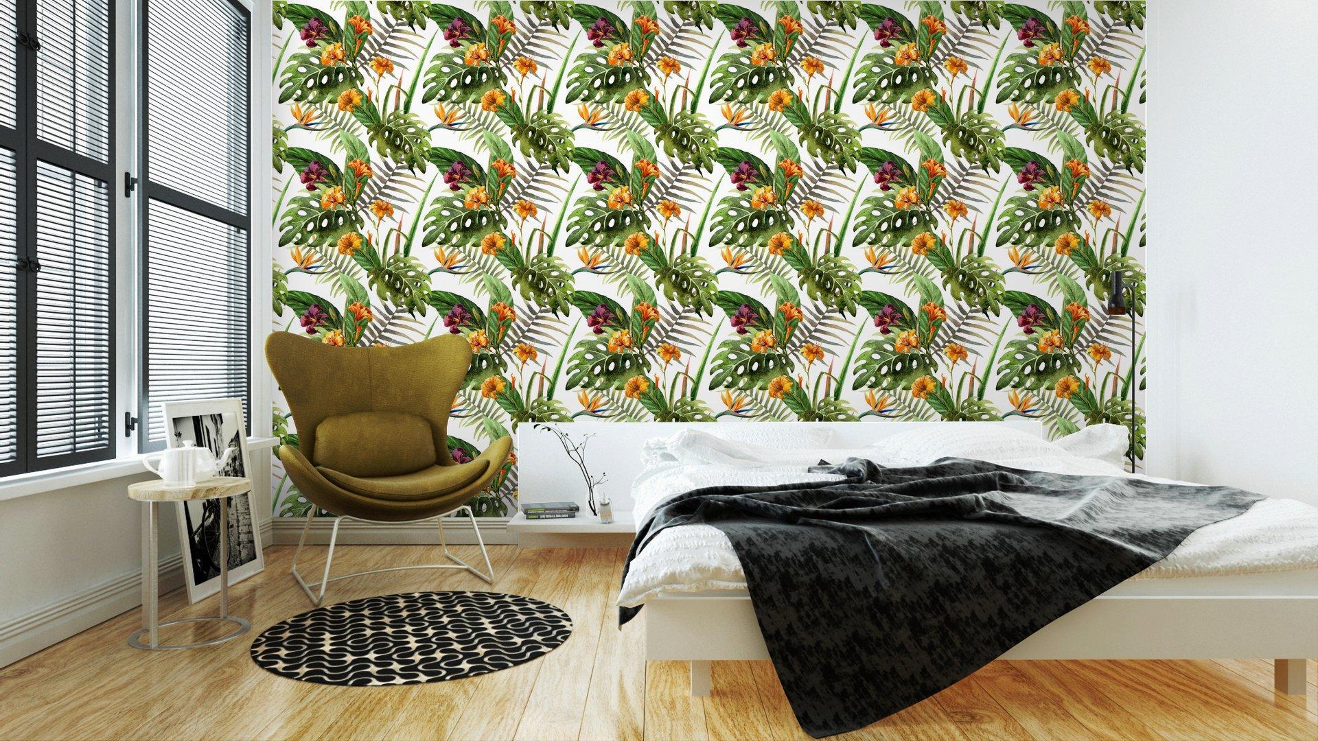 Fotomurales mexico papeles pintados lavables hibisco patron de la orquidea deja tropicos acuarela 2 - Papel Tapiz Orquídea Estilo Acuarela 01