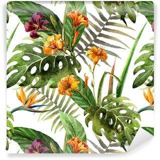 Fotomurales mexico papeles pintados lavables hibisco patron de la orquidea deja tropicos acuarela - Papel Tapiz Orquídea Estilo Acuarela 01