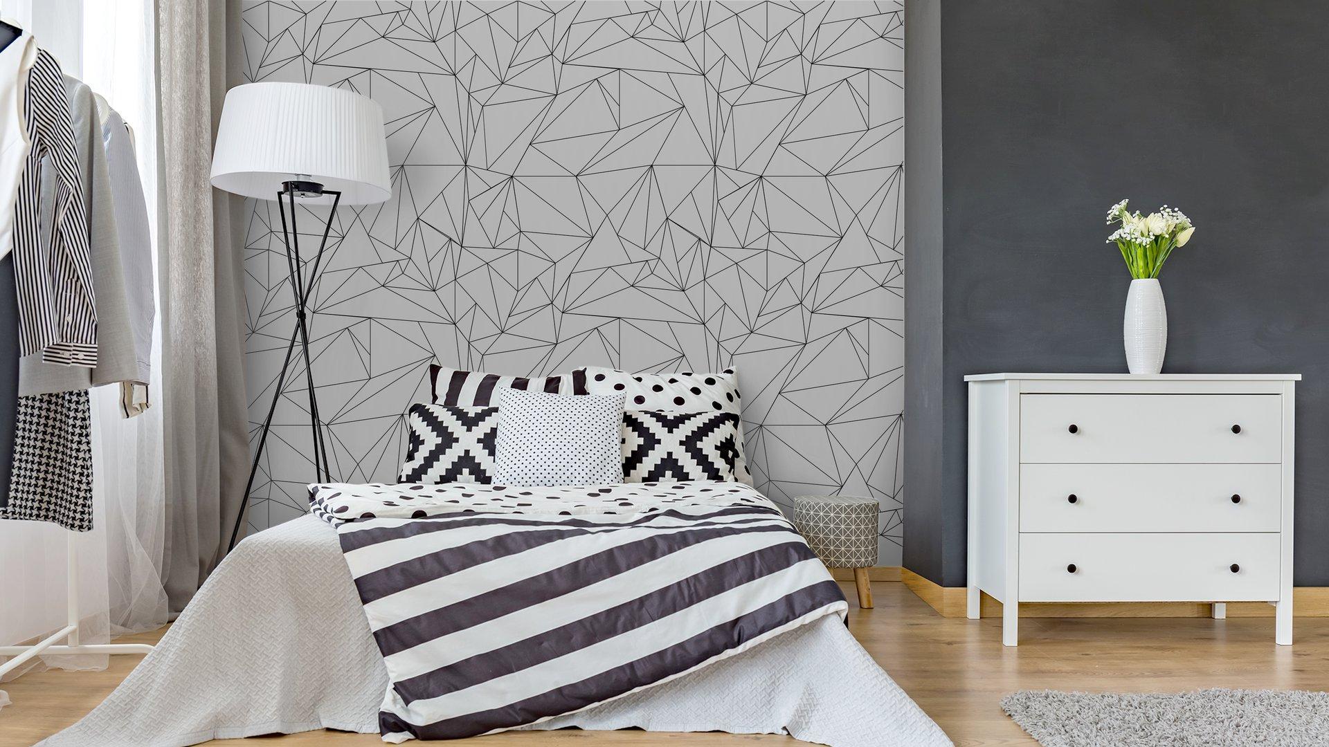 Fotomurales mexico papeles pintados lavables modelo geometrico blanco y negro simple minimalista triangulos o vidriera se puede utilizar como fondo de pantalla fondo o la textura 2 - Papel Tapiz Geométrico Minimalista Blanco Y Negro 01