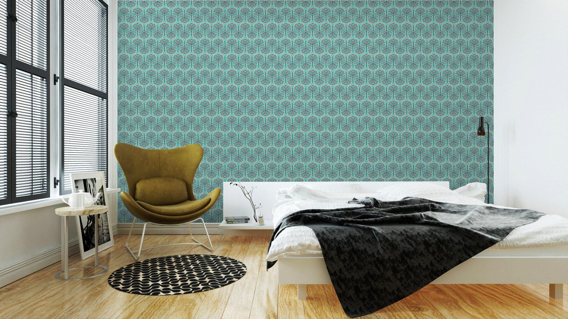 Fotomurales mexico papeles pintados lavables patron bosque sin fisuras 2 - Papel Tapiz Patrón Bosque Abstracto en Fondo Azul 01