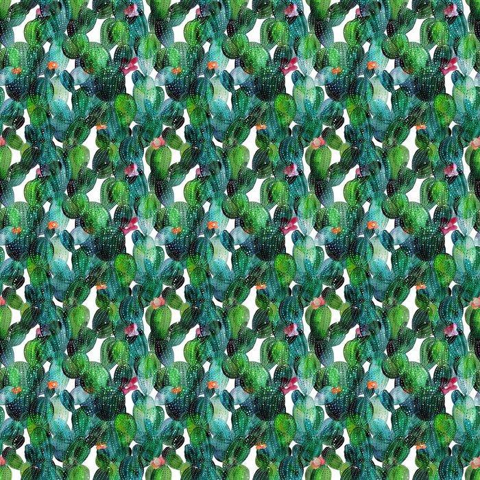 Fotomurales mexico papeles pintados lavables patron de cactus en el estilo de la acuarela 1 - Papel Tapiz Cactus en Fondo Blanco Tipo Acuarela 02