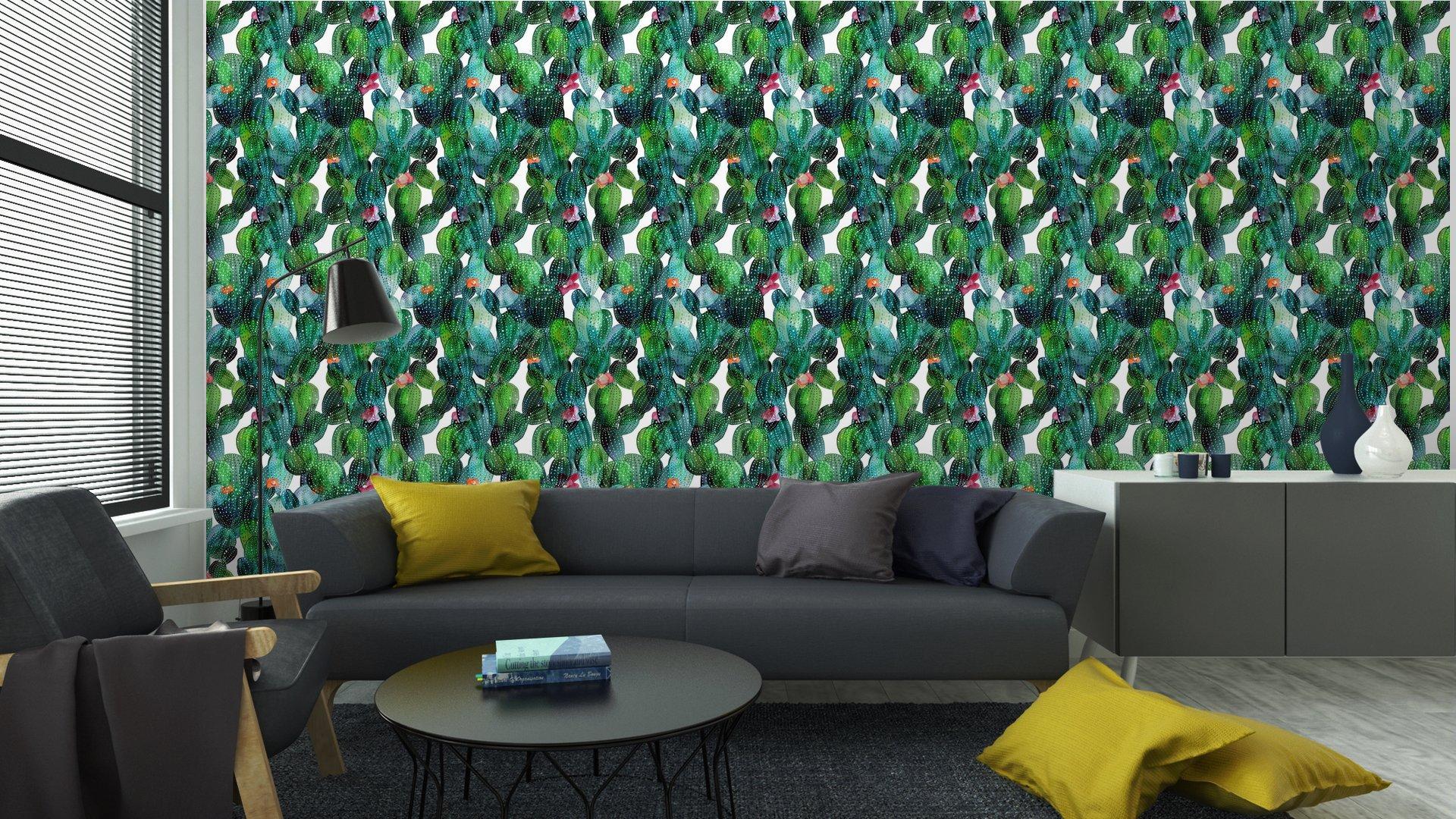 Fotomurales mexico papeles pintados lavables patron de cactus en el estilo de la acuarela 5 - Papel Tapiz Cactus en Fondo Blanco Tipo Acuarela 02