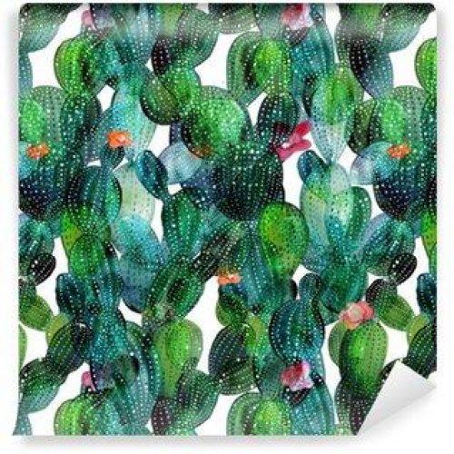 Fotomurales mexico papeles pintados lavables patron de cactus en el estilo de la acuarela 500x500 - Fotomurales Papel Tapiz Tropical y Naturaleza