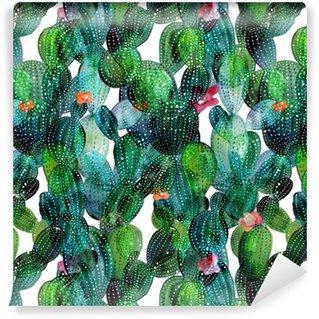 Fotomurales mexico papeles pintados lavables patron de cactus en el estilo de la acuarela - Papel Tapiz