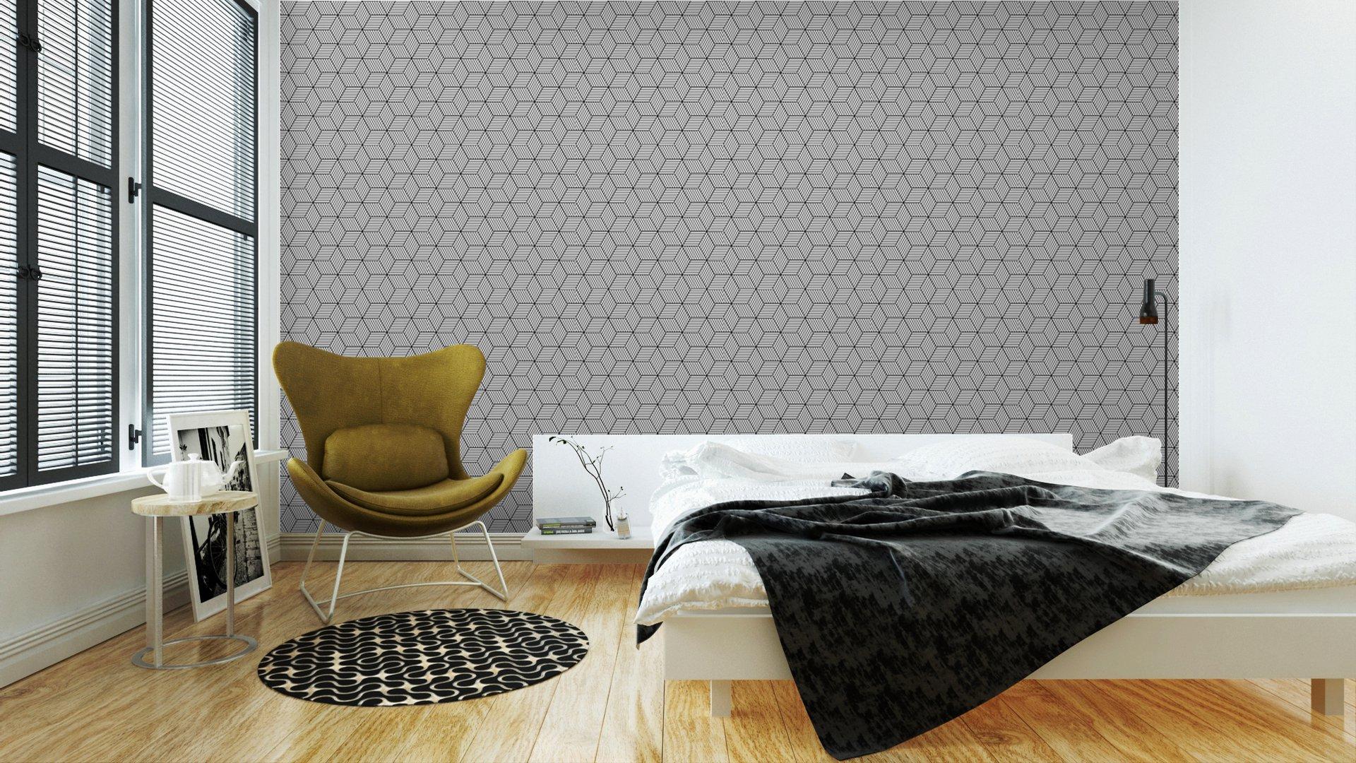 Fotomurales mexico papeles pintados lavables patron geometrico transparente con cubos 3 - Papel Tapiz Patrón de Cubos 3D 02