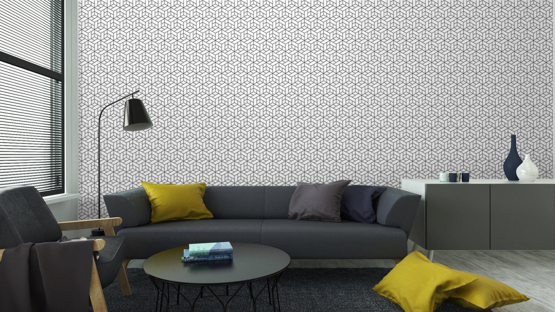 Fotomurales mexico papeles pintados lavables patron geometrico transparente con cubos 4 1 - Papel Tapiz Geométrico de Cubos 01