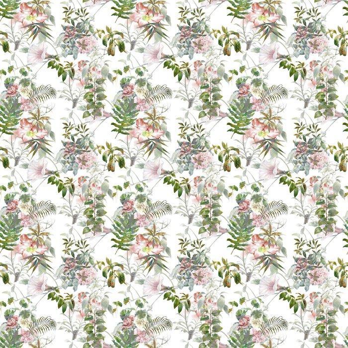 Fotomurales mexico papeles pintados lavables pintura de la acuarela de la hoja y las flores patron de fisuras en el fondo blanco 1 - PapelTapiz Hojas y Flores Tipo Acuarela en Fondo Blanco 01