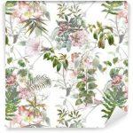 Fotomurales-mexico-papeles-pintados-lavables-pintura-de-la-acuarela-de-la-hoja-y-las-flores-patron-de-fisuras-en-el-fondo-blanco
