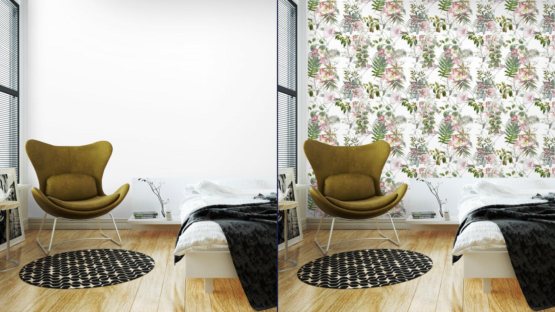 Fotomurales mexico papeles pintados lavables pintura de la acuarela de la hoja y las flores patron de fisuras en el fondo blanco 2 - PapelTapiz Hojas y Flores Tipo Acuarela en Fondo Blanco 01