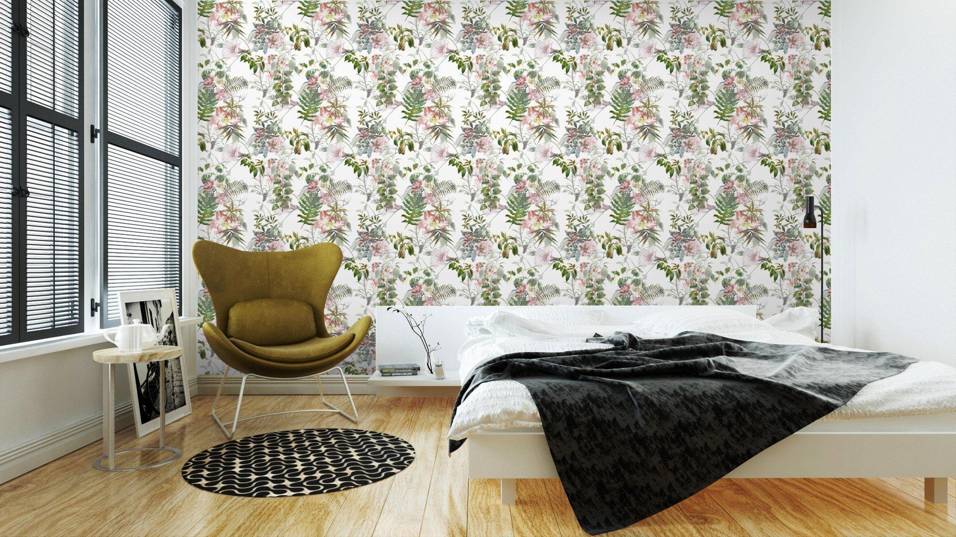 Fotomurales mexico papeles pintados lavables pintura de la acuarela de la hoja y las flores patron de fisuras en el fondo blanco 3 - PapelTapiz Hojas y Flores Tipo Acuarela en Fondo Blanco 01