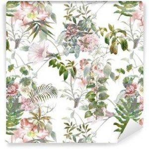 Fotomurales mexico papeles pintados lavables pintura de la acuarela de la hoja y las flores patron de fisuras en el fondo blanco 300x300 - Papel Tapiz