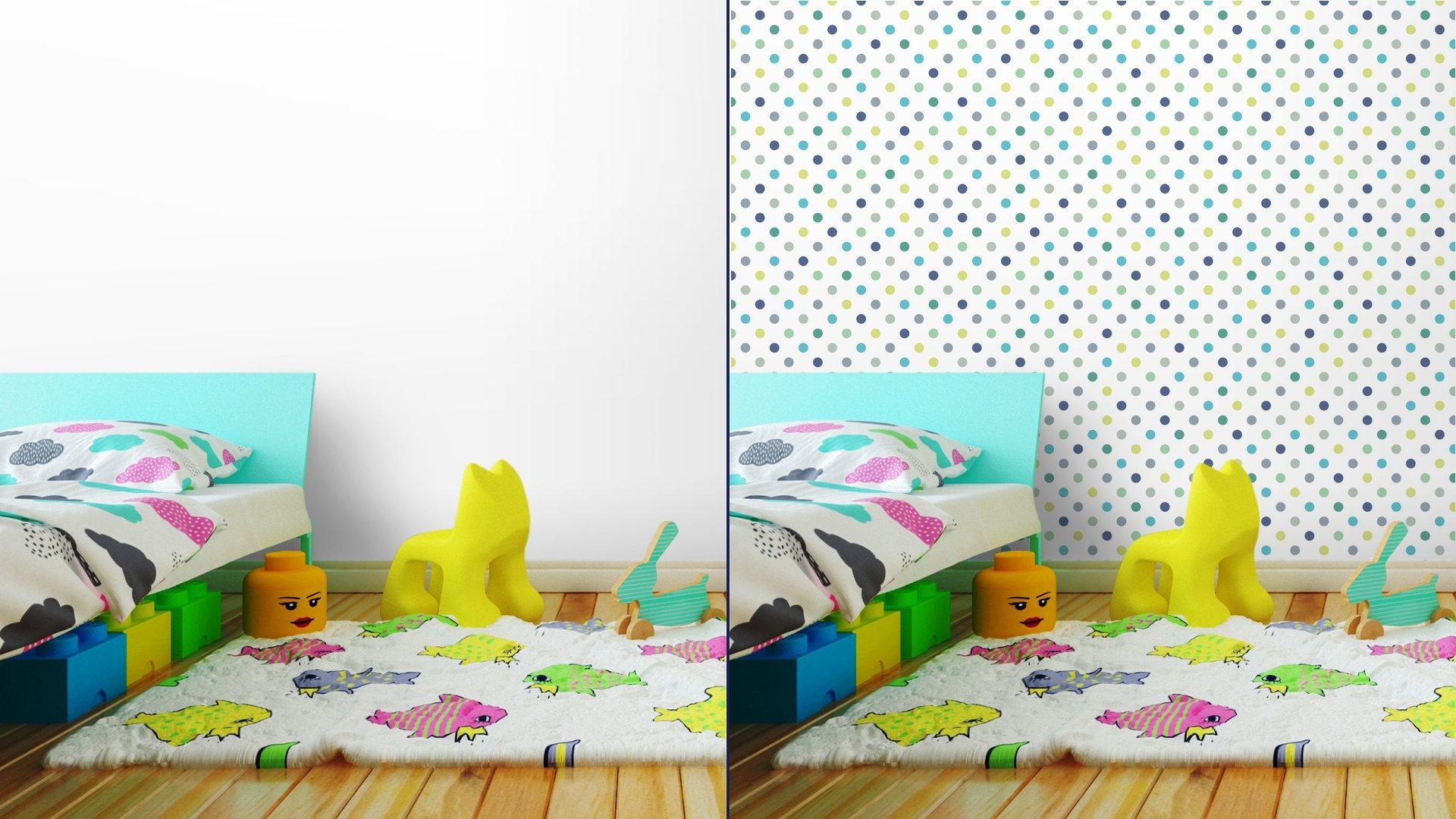 Fotomurales mexico papeles pintados lavables puntos vector patron de fondo sin fisuras lunares de colores 4 - Papel Tapiz Lunares de Colores Fondo Blanco 01