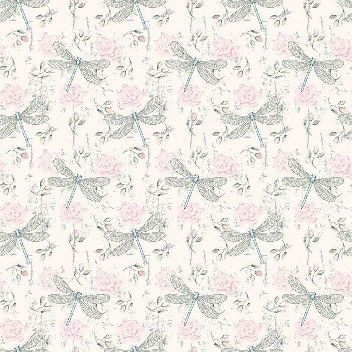 Fotomurales mexico papeles pintados lavables ronoso sin fisuras patron floral con las libelulas 1 - PapelTapiz Patrón Floral Con Libélulas 01