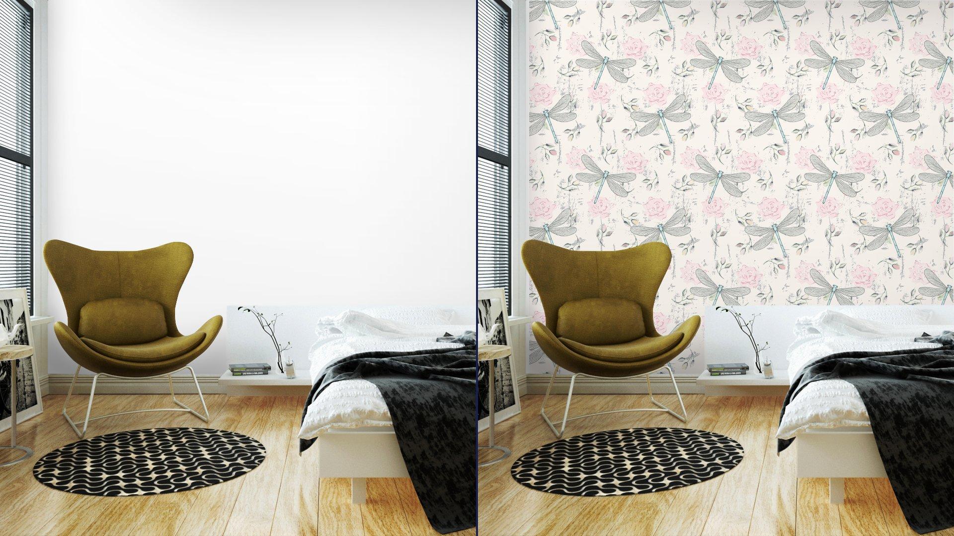 Fotomurales mexico papeles pintados lavables ronoso sin fisuras patron floral con las libelulas 2 - PapelTapiz Patrón Floral Con Libélulas 01