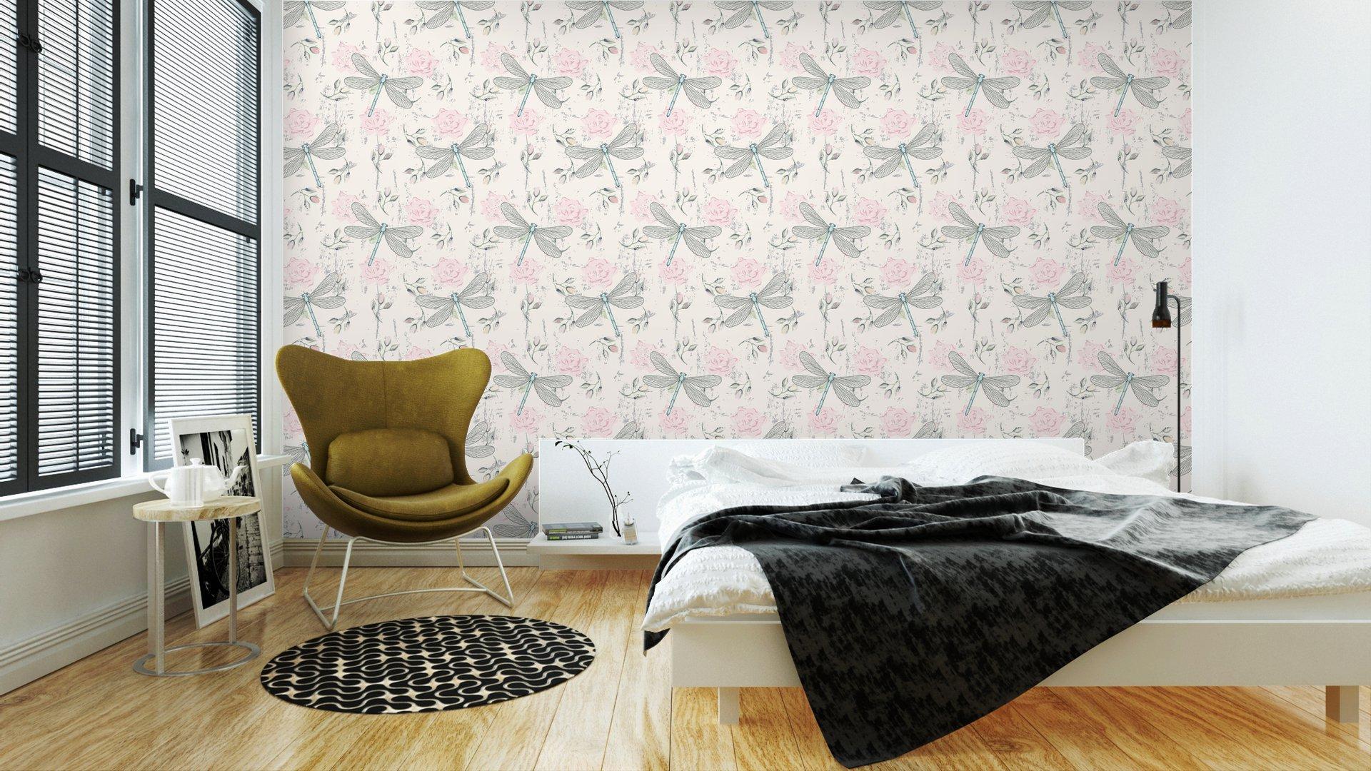 Fotomurales mexico papeles pintados lavables ronoso sin fisuras patron floral con las libelulas 3 - PapelTapiz Patrón Floral Con Libélulas 01