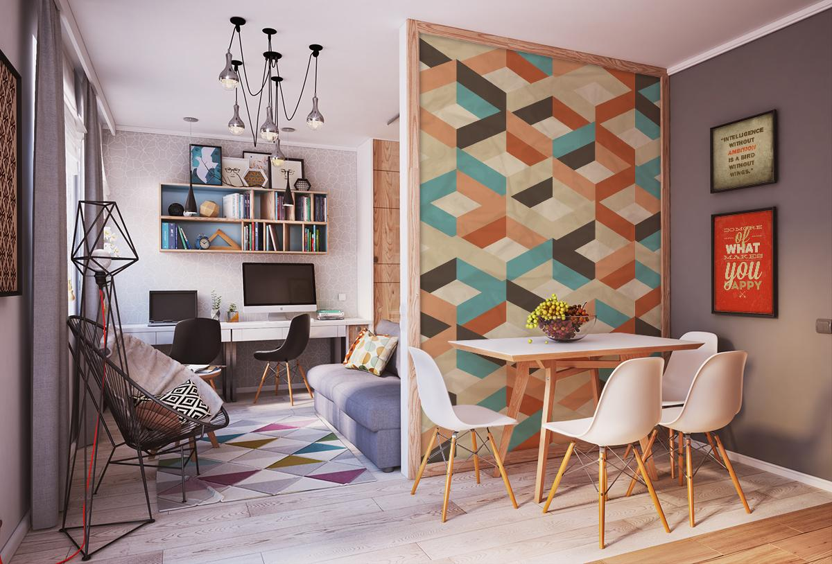 Papel tapiz geom trico retro 01 fotomurales decorativos m xico decora todos tus espacios - Papeles pintados lavables ...
