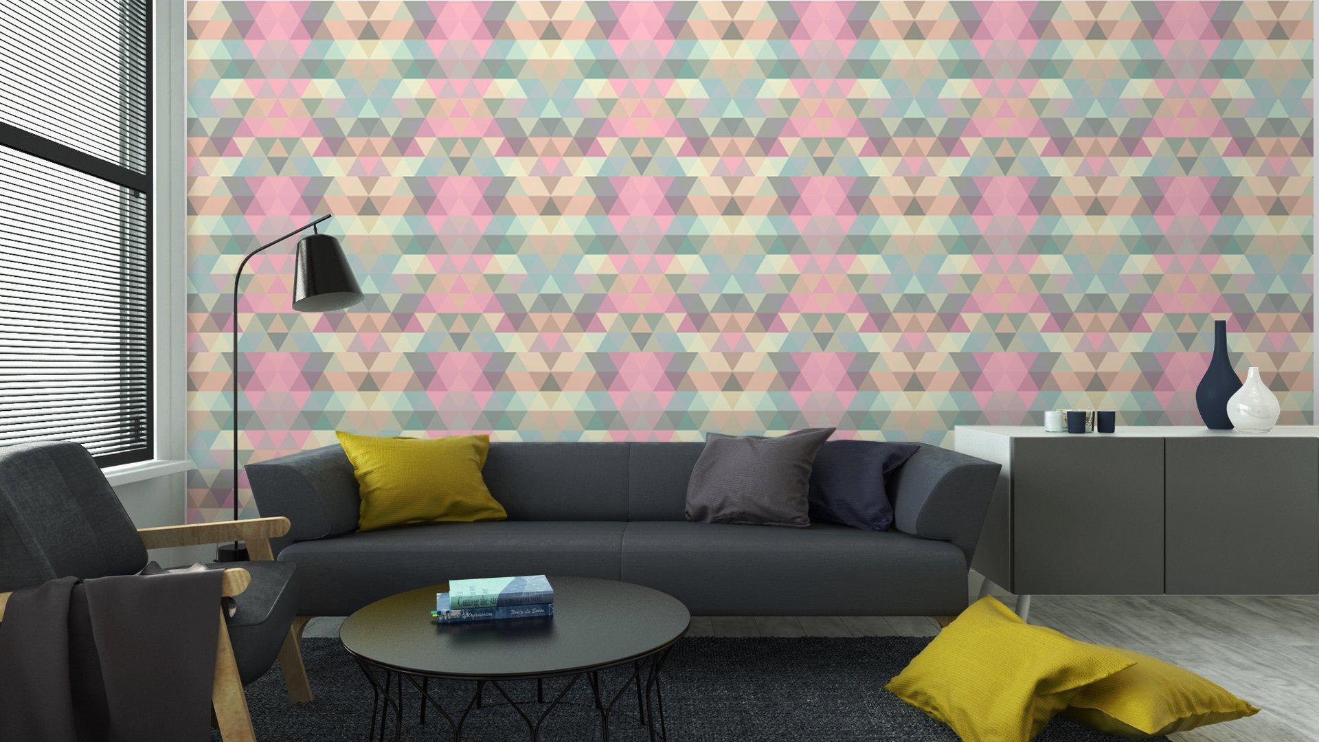 Fotomurales mexico papeles pintados lavables triangulo fondo de mosaico fondo geometrico 5 - Papel Tapiz Patrón Geométrico Triángulo 04