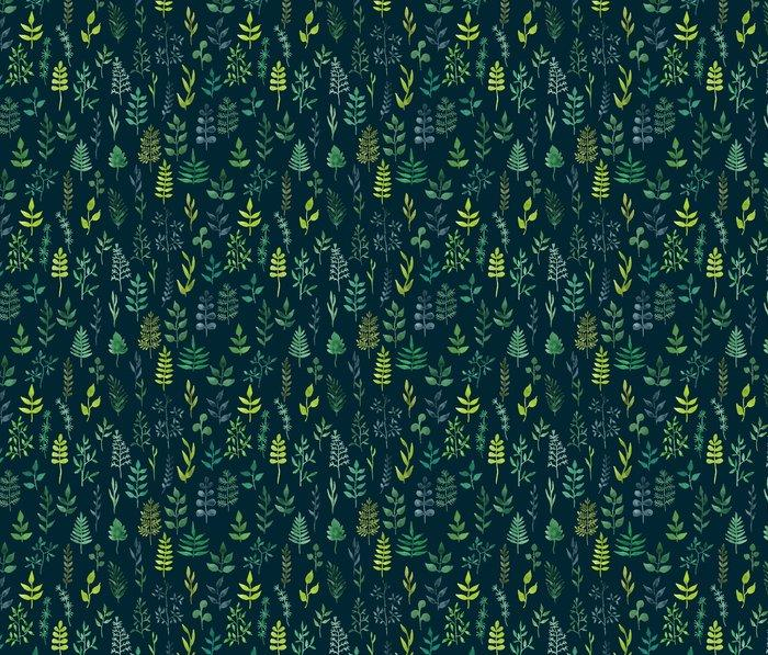 Fotomurales mexico papeles pintados lavables vector de acuarela verde sin fisuras patron floral 1 - Papel Tapiz Patrón Hojas en Fondo Verde 01