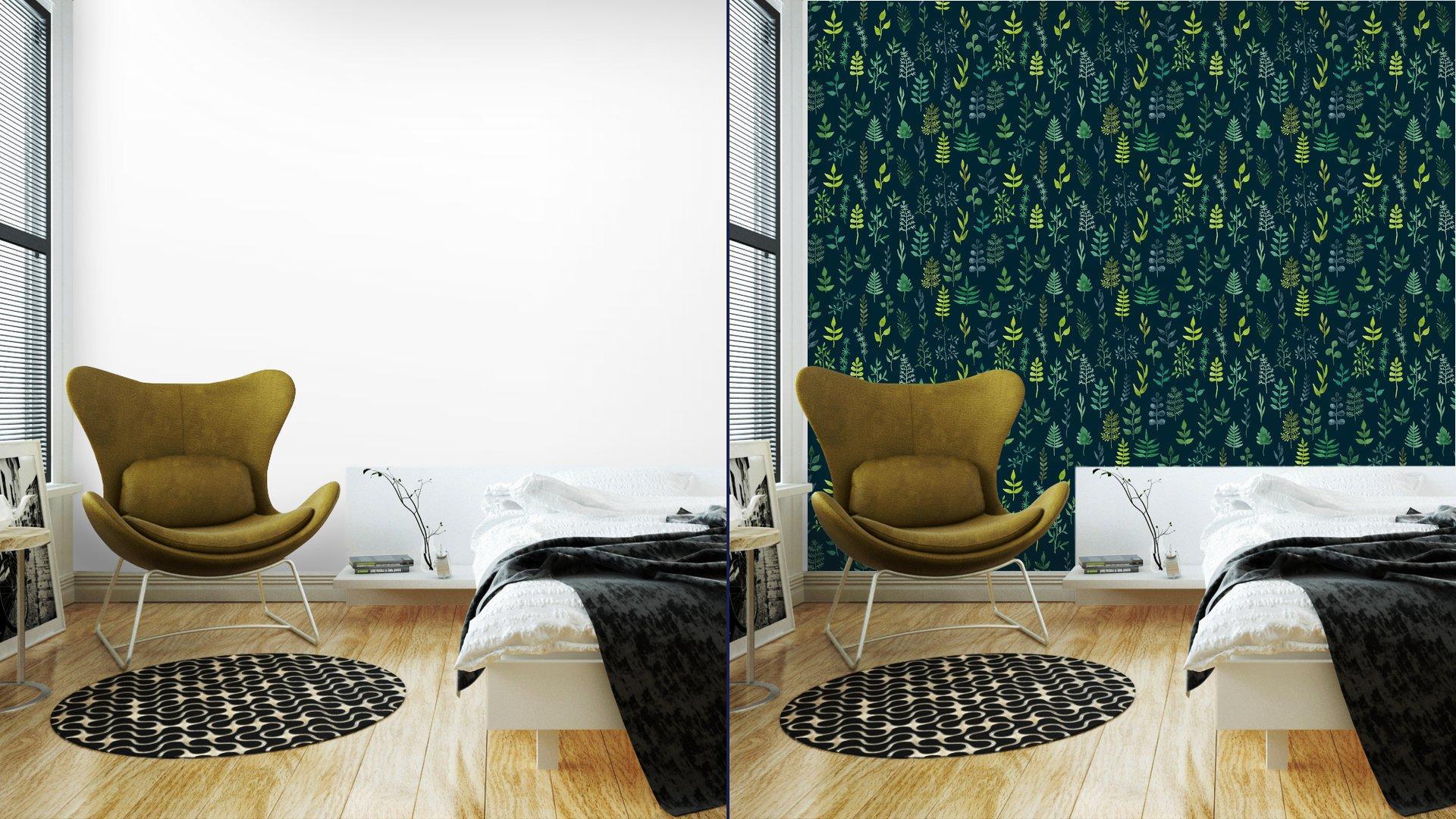 Fotomurales mexico papeles pintados lavables vector de acuarela verde sin fisuras patron floral 4 - Papel Tapiz Patrón Hojas en Fondo Verde 01
