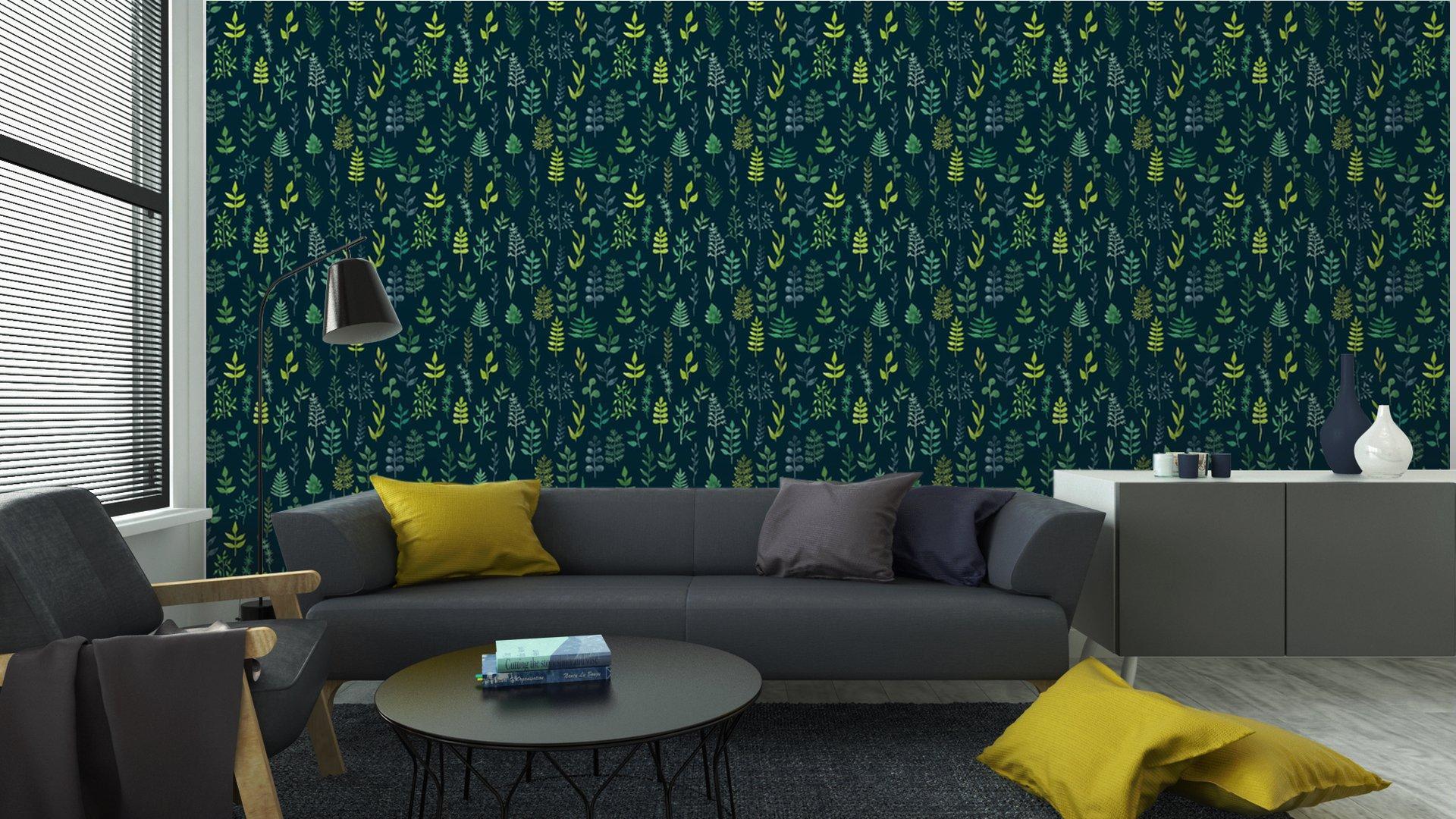 Fotomurales mexico papeles pintados lavables vector de acuarela verde sin fisuras patron floral 5 - Papel Tapiz Patrón Hojas en Fondo Verde 01
