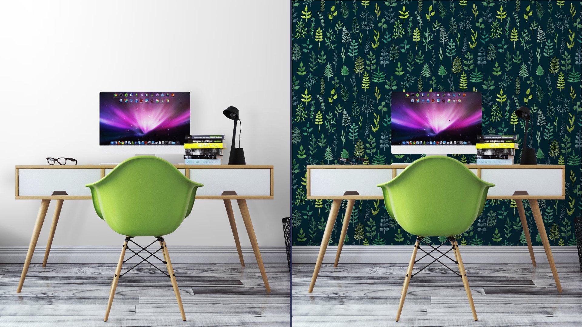 Fotomurales mexico papeles pintados lavables vector de acuarela verde sin fisuras patron floral 7 - Papel Tapiz Patrón Hojas en Fondo Verde 01
