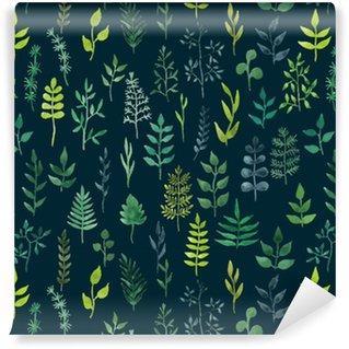 Fotomurales mexico papeles pintados lavables vector de acuarela verde sin fisuras patron floral - Fotomurales & Papel Tapiz Infantiles