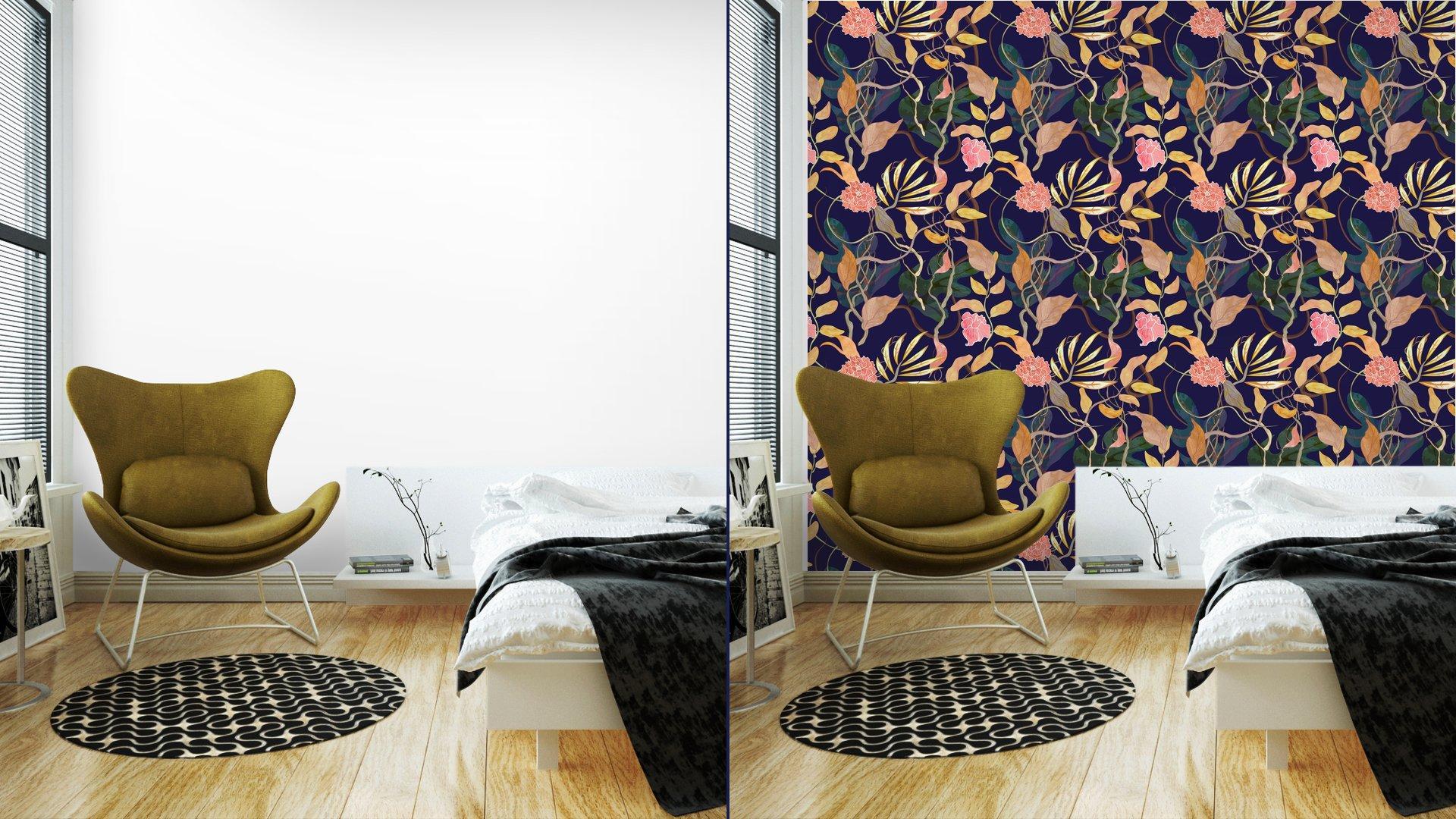 Fotomurales mexico papeles pintados modelo inconsutil de la moda con el tema del puerto plantas watecolor 2 - Papel Tapiz Patrón Floral Vintage 01