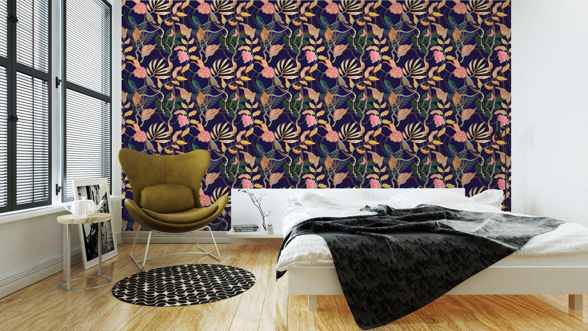 Fotomurales mexico papeles pintados modelo inconsutil de la moda con el tema del puerto plantas watecolor 3 - Papel Tapiz Patrón Floral Vintage 01