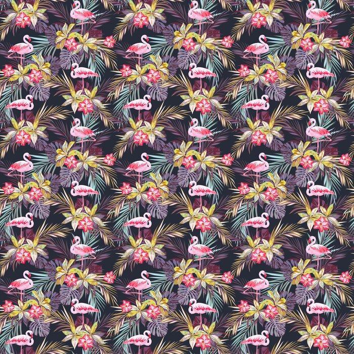 Fotomurales mexico papeles pintados modelo inconsutil del verano tropical con flamenco aves y plantas exoticas 1 - Papel Tapiz PatrónFlamingos con Hojas Tropicales 01