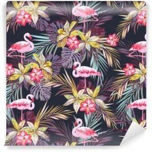 Fotomurales mexico papeles pintados modelo inconsutil del verano tropical con flamenco aves y plantas exoticas 300x300 - Papel Tapiz
