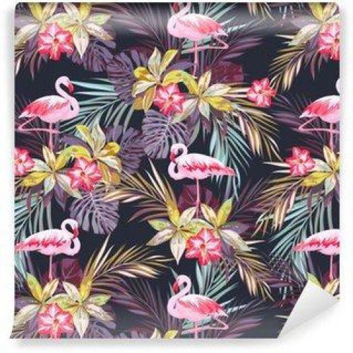 Fotomurales mexico papeles pintados modelo inconsutil del verano tropical con flamenco aves y plantas exoticas 500x500 - Fotomurales Papel Tapiz Tropical y Naturaleza