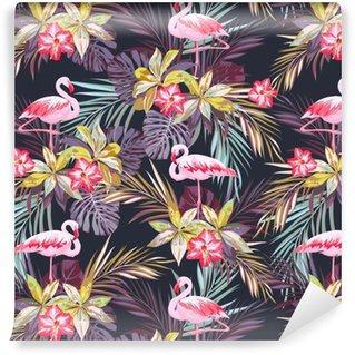 Fotomurales mexico papeles pintados modelo inconsutil del verano tropical con flamenco aves y plantas exoticas - Fotomurales Papel Tapiz Vintage y Old Style