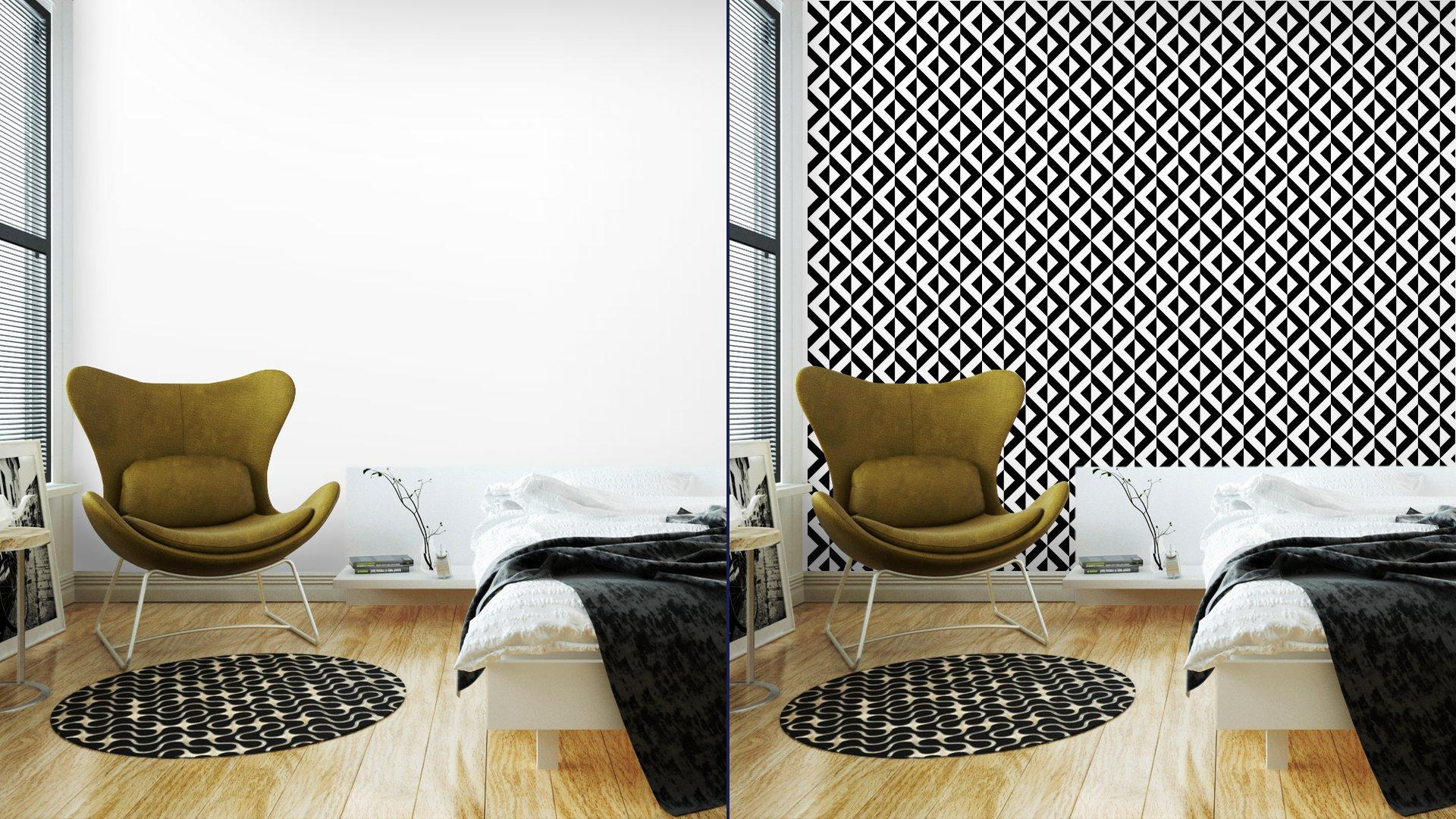 Fotomurales mexico papeles pintados patron geometrico abstracto 2 - Papel Tapiz Geométrico Blanco y Negro 01