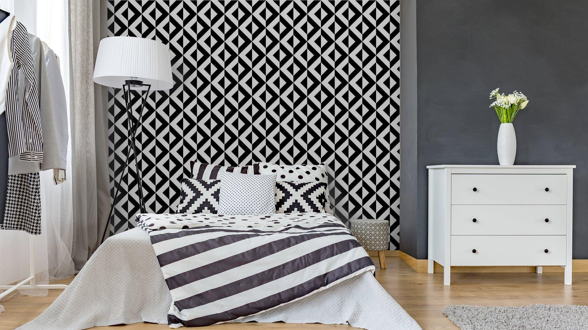 Fotomurales mexico papeles pintados patron geometrico abstracto 4 - Papel Tapiz Geométrico Blanco y Negro 01
