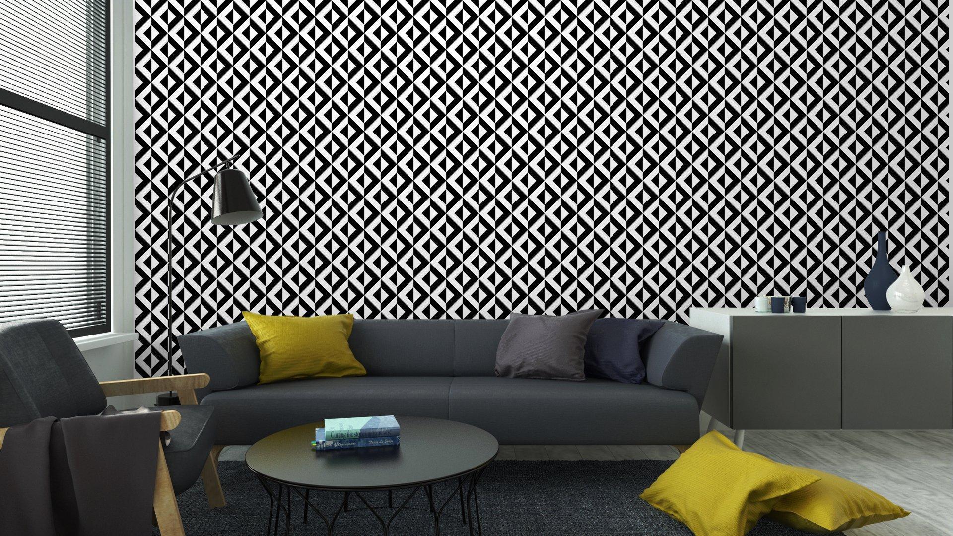 Fotomurales mexico papeles pintados patron geometrico abstracto 6 - Papel Tapiz Geométrico Blanco y Negro 01