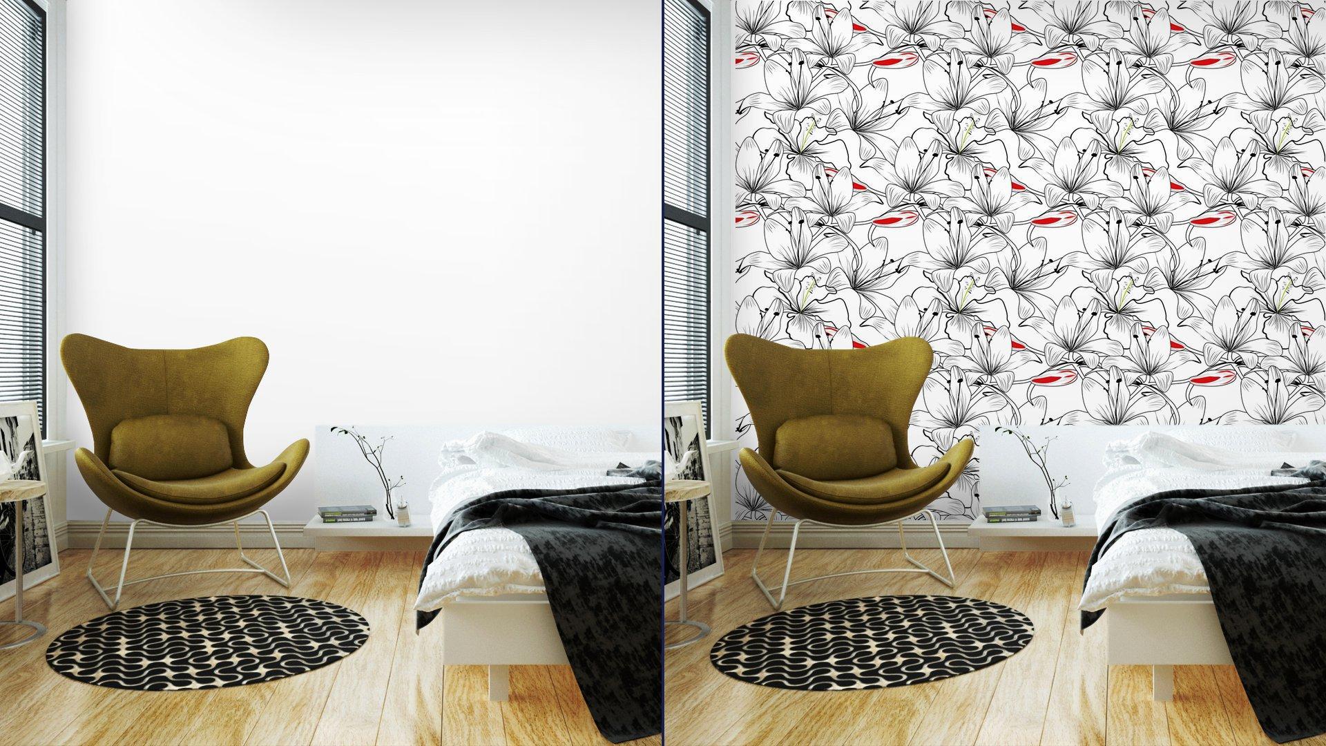 Fotomurales mexico papeles pintados patron sin fisuras con flores de lirio blanco 2 - Papel Tapiz Patrón Flores de Lirio en Fondo Blanco 01