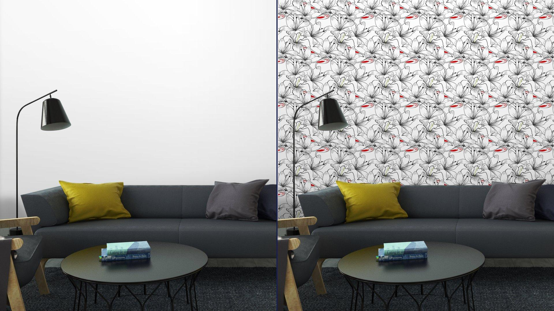 Fotomurales mexico papeles pintados patron sin fisuras con flores de lirio blanco 5 - Papel Tapiz Patrón Flores de Lirio en Fondo Blanco 01