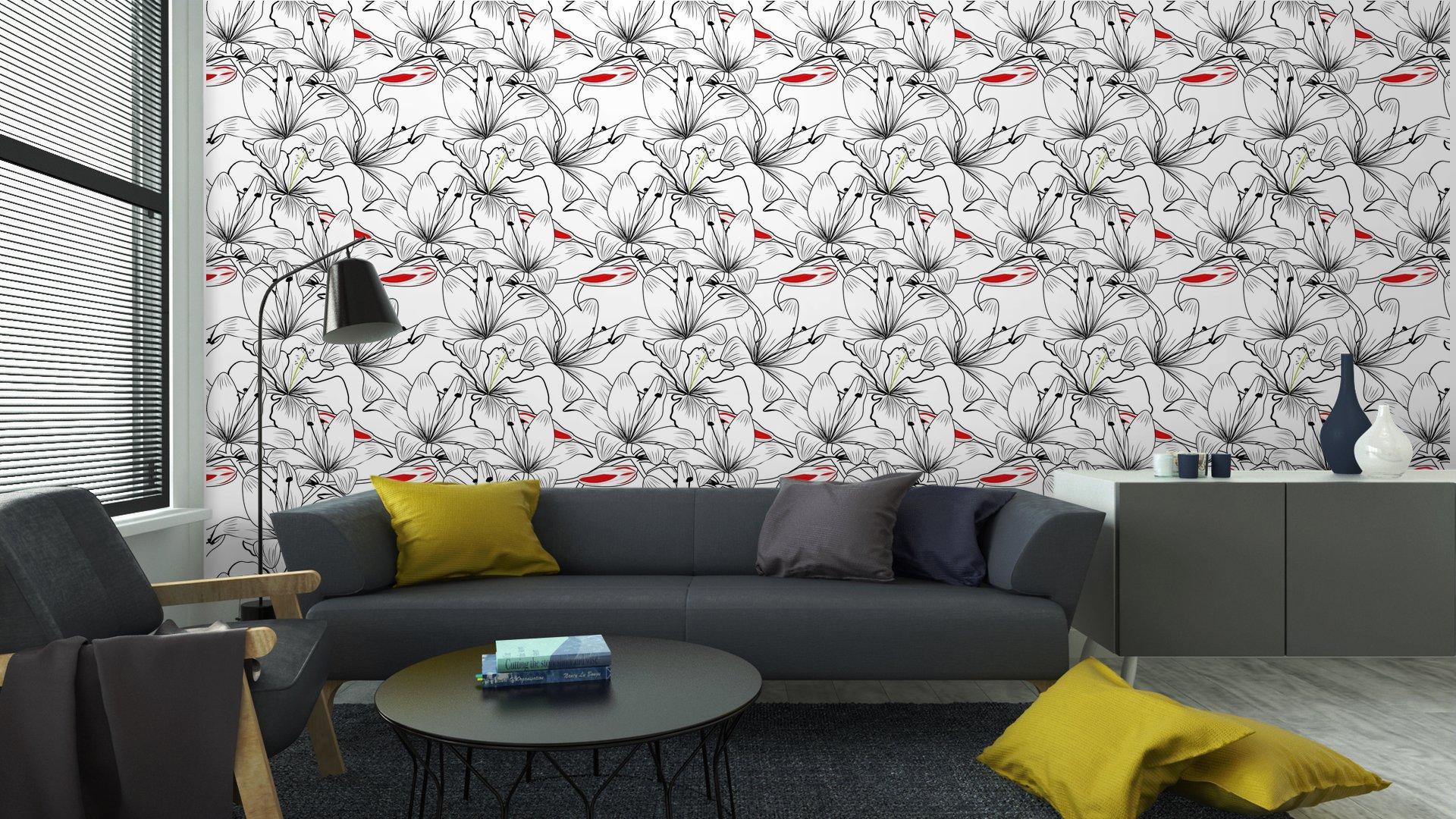 Fotomurales mexico papeles pintados patron sin fisuras con flores de lirio blanco 6 - Papel Tapiz Patrón Flores de Lirio en Fondo Blanco 01