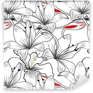 Fotomurales mexico papeles pintados patron sin fisuras con flores de lirio blanco - Papel Tapiz Patrón Flores de Lirio en Fondo Blanco 01