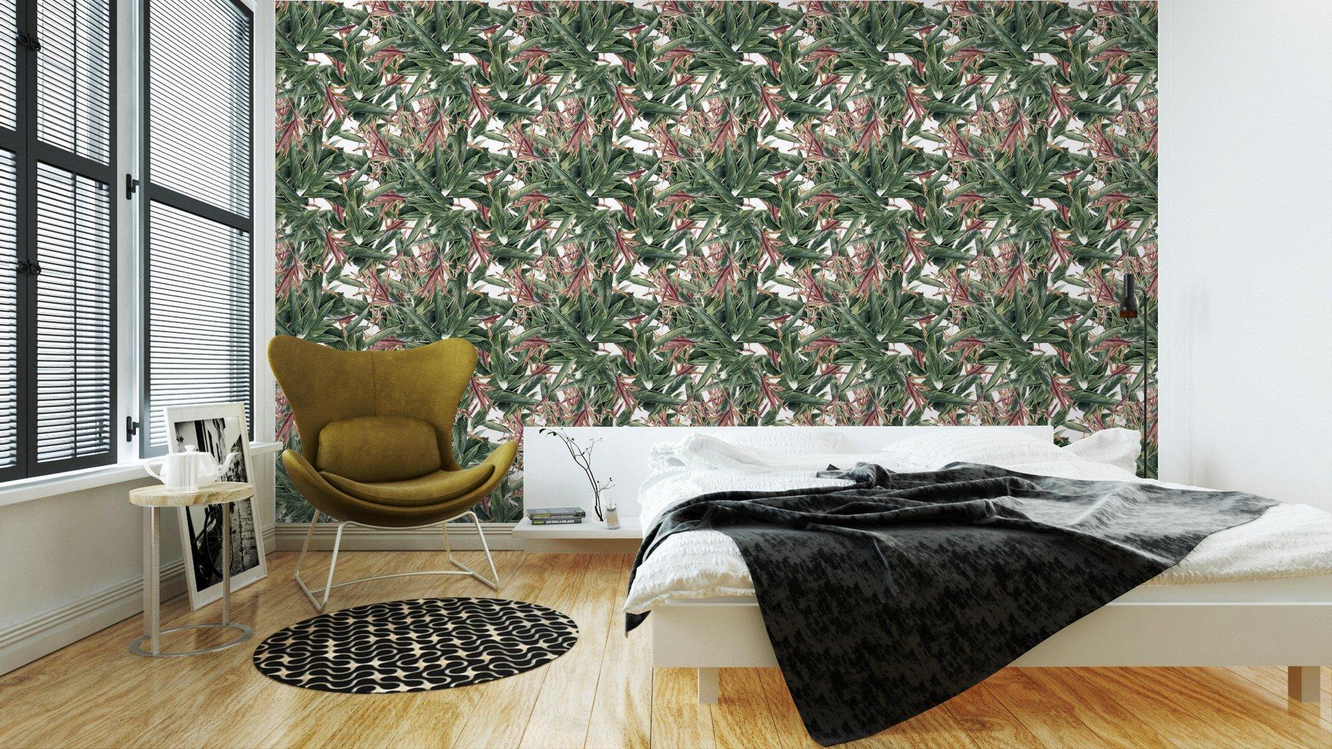 Fotomurales mexico papeles pintados pintura de la acuarela de la hoja y las flores modelo inconsutil 3 - Papel Tapiz Naturaleza Abstracta 01