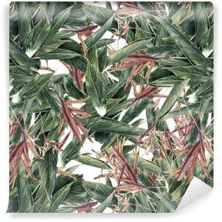 Fotomurales mexico papeles pintados pintura de la acuarela de la hoja y las flores modelo inconsutil - Papel Tapiz Naturaleza Abstracta 01