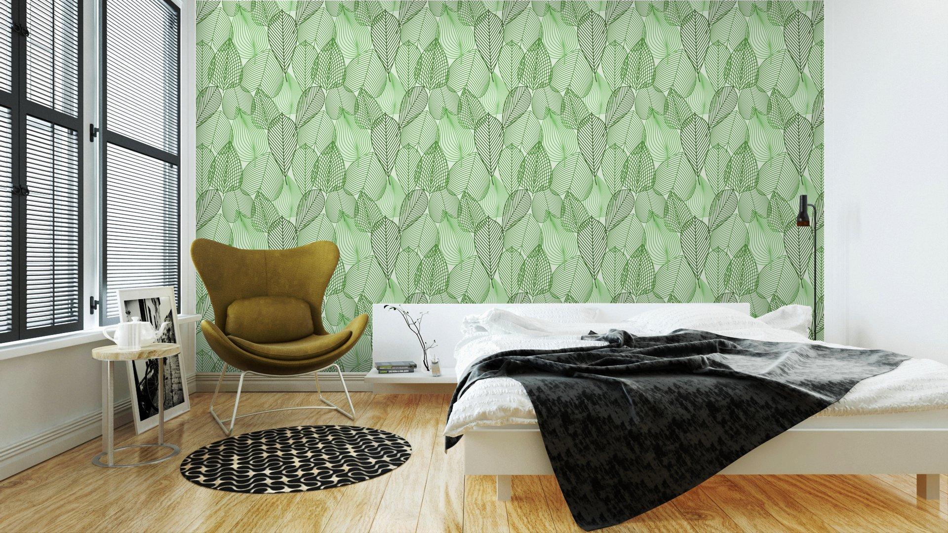 Fotomurales mexico papeles pintados primavera verde deja el modelo inconsutil 2 - Papel Tapiz Primavera Hoja Verde 01