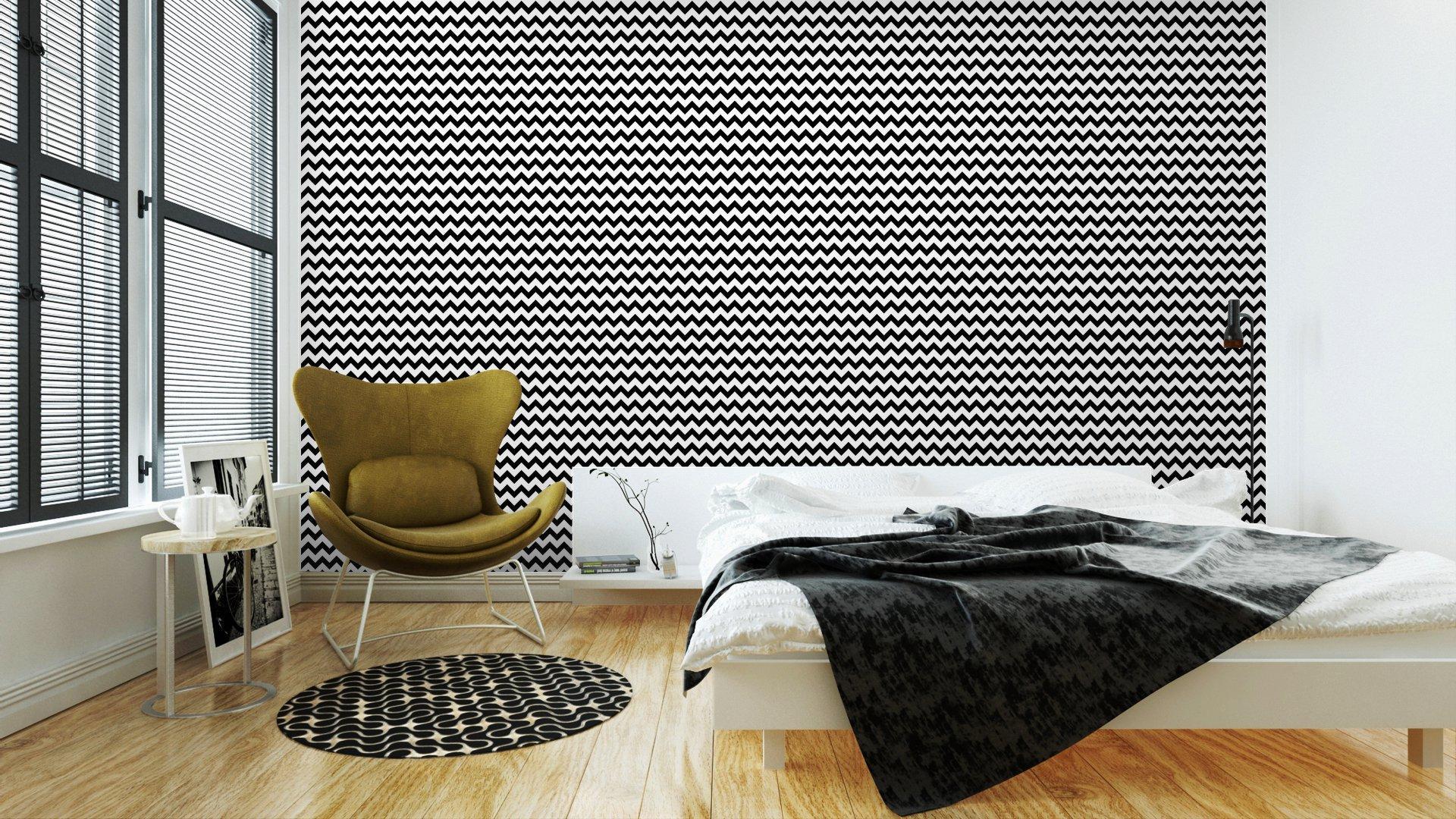 Fotomurales mexico papeles pintados resumen sin patron geometrico zigzag vector 3 - Papel Tapiz Patrón Zigzag Blanco y Negro