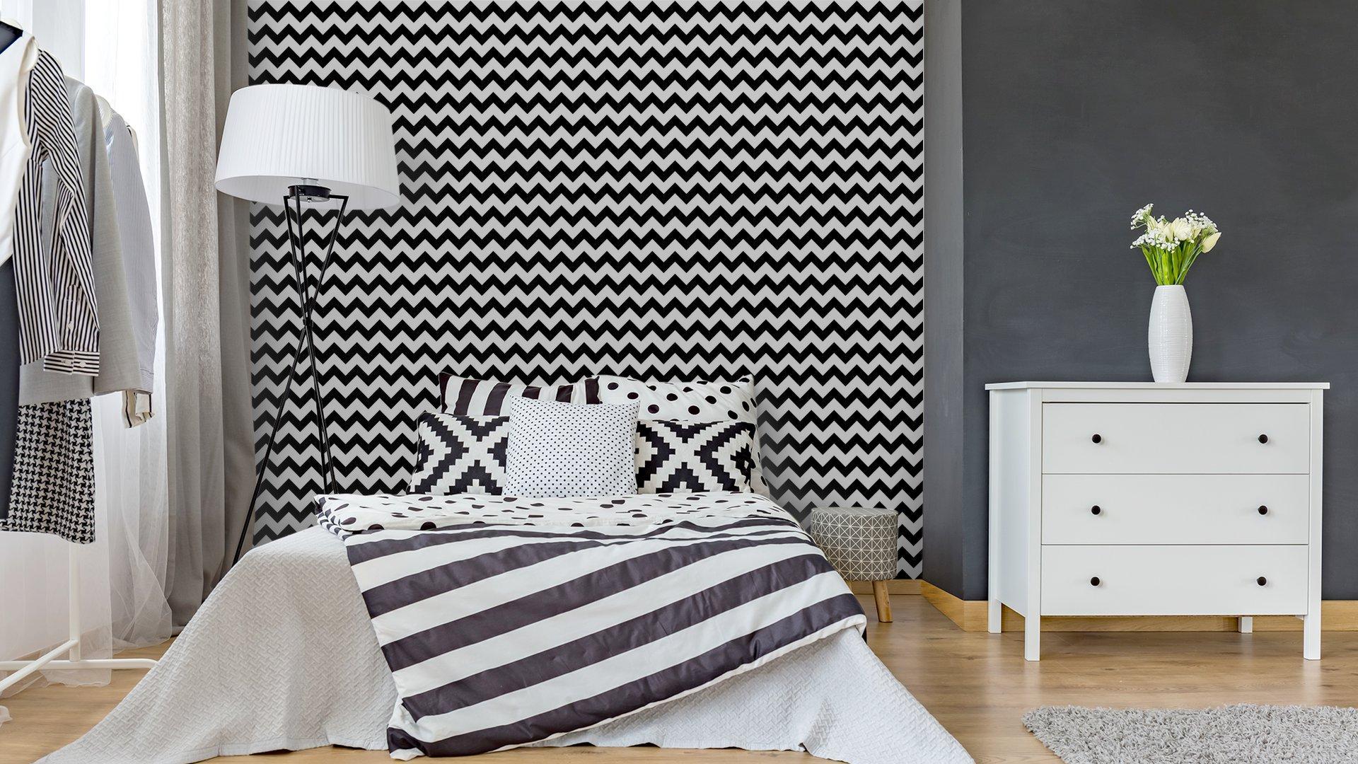 Fotomurales mexico papeles pintados resumen sin patron geometrico zigzag vector 4 - Papel Tapiz Patrón Zigzag Blanco y Negro