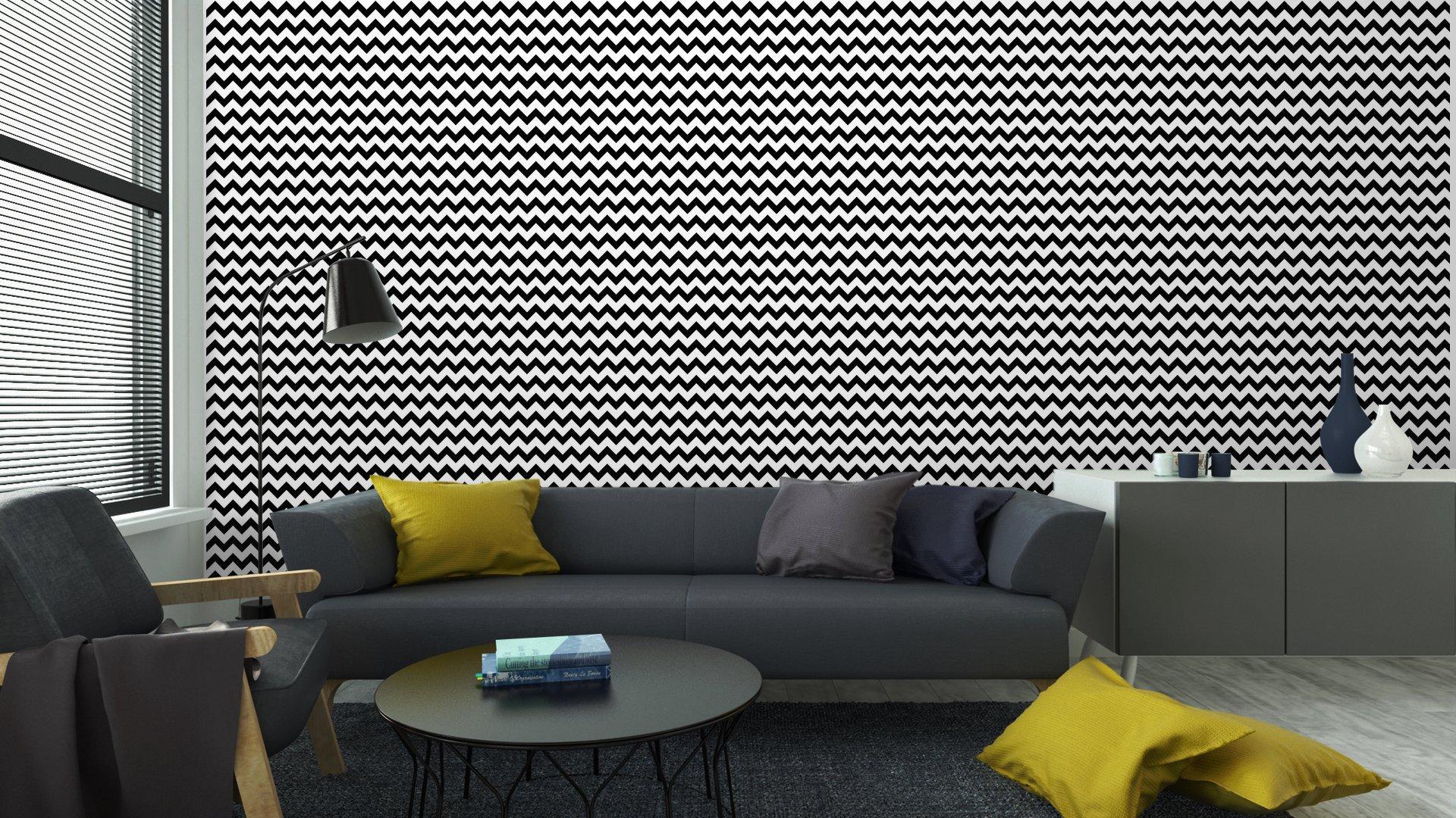 Fotomurales mexico papeles pintados resumen sin patron geometrico zigzag vector 6 - Papel Tapiz Patrón Zigzag Blanco y Negro