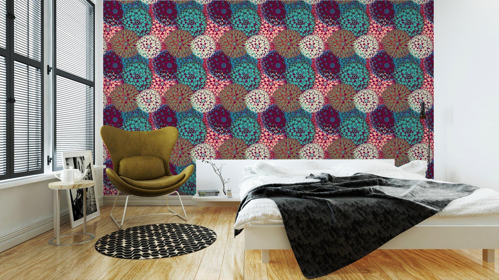 Fotomurales mexico papeles pintados sin fisuras vector patron 3 - Papel Tapiz Flores Multicolor 01