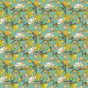Papel Tapiz Patrón Floral en Fondo Azul Tipo Vintage 01