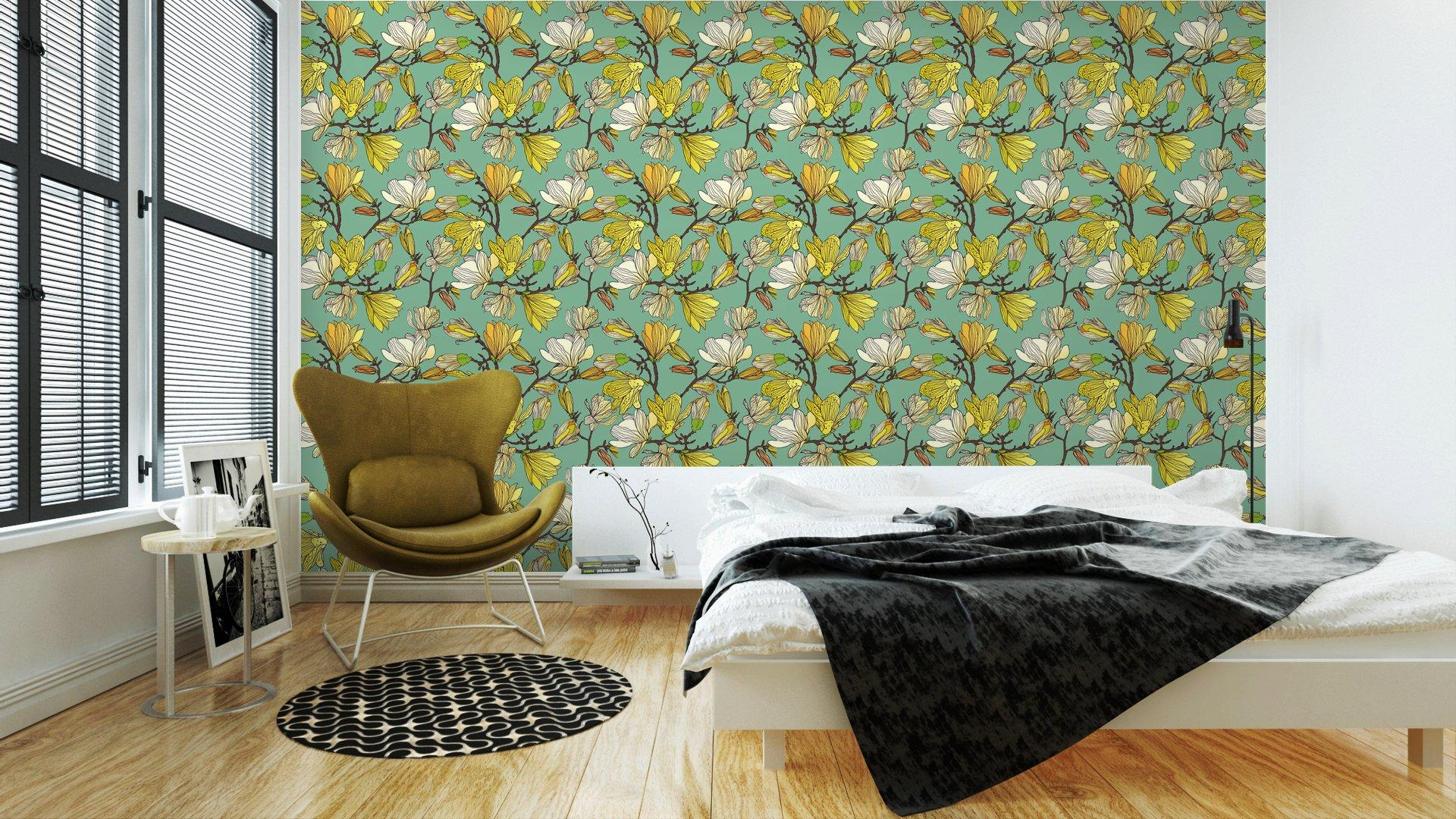Fotomurales mexico papeles pintados textura floral sin fisuras 3 - Papel Tapiz Patrón Floral en Fondo Azul Tipo Vintage 01